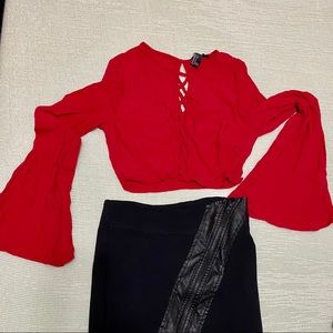Red Boho Bell Sleeve Forever 21 Lace Crop Top